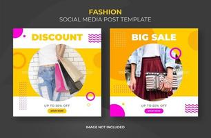 Bright social banner template set with photo frame