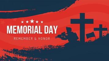 Memorial day soldier remember and honor poster design vector