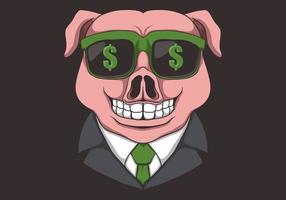 anteojos de cerdo dólar vector