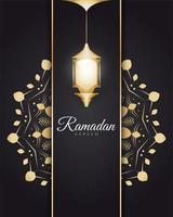 Ramadán Kareem con linternas árabes doradas