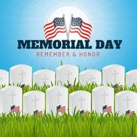 Memorial day remember and honor poster vector