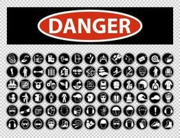 Danger Required Personal Protective Equipment Symbol Collection vector