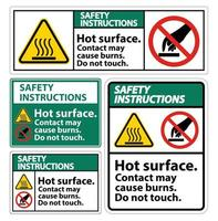Safety Hot Surface Do Not Touch Symbol Sign Set