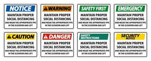 manter sinal de distanciamento social adequado vetor