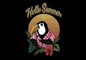 Toucan bird hello summer  vector