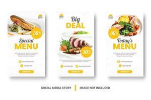 Conjunto de historias de redes sociales de banner vertical de menú amarillo y blanco de alimentos vector