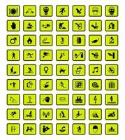 Warning Hazard Symbols labels Sign set