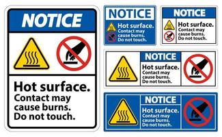 Notice Hot Surface Do Not Touch Symbol Sign Set vector