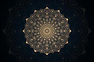 Gold lace mandala design on dark mandala background vector
