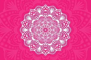 White floral mandala design on pink vector