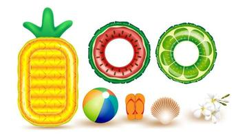 set di elementi estivi con galleggianti e pallone da spiaggia