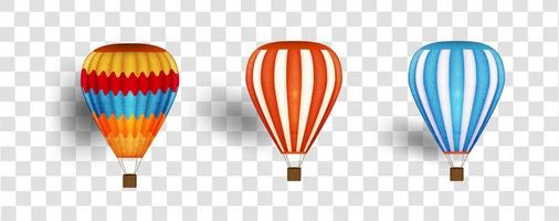 Hit air balloon set with watercolor style texture vector
