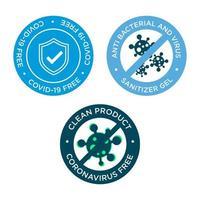 Circular anti-bacterial Coronavirus free icon set vector