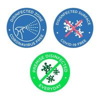 Disinfected surface Coronavirus free icon set vector