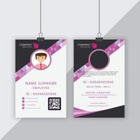 Gray and Pink Geometric Shape Corporate ID Card