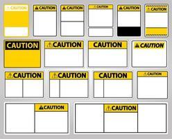 conjunto de plantillas de signo de precaución amarillo vector