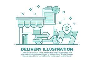 Ilustración lineal de entrega y envío vector