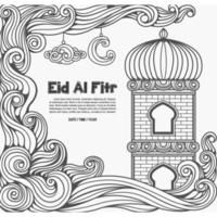 Decorative outline style Eid al Fitr Islamic illustration vector