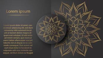Tarjeta de mandala de pétalos de flores de círculo con diseño vintage