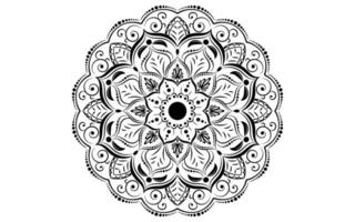 Circular pattern mandala black and white flower  vector