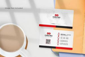 Business Card with Red and Black Border vector