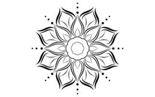 patrón de mandala simple floral blanco y negro