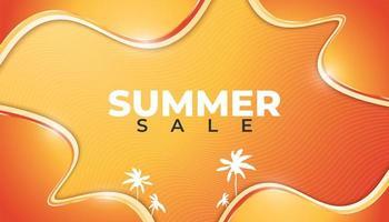 bannière de vente d'été dégradé orange brillant design ondulé