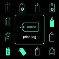 Simple price tag icon set