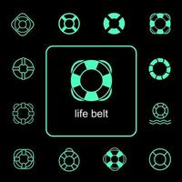 Life belt icon for marine safety set