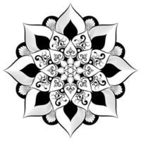 mandala blanco y negro con estilo floral vintage