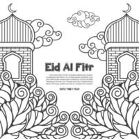 Eid al Fitr Islamic illustration with leaves vector