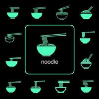Global food noodle icons set vector