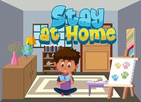 design de cartaz de coronavírus com menino lendo em casa vetor
