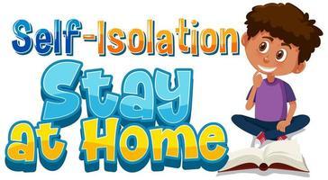 design de cartaz de auto-isolamento com menino e livro vetor