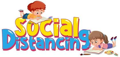 crianças fazendo atividades em torno do texto de distanciamento social vetor