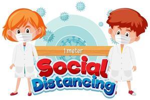 cartel con niños en máscaras distanciamiento social vector