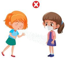 Girl coughing on another girl in mask