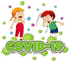 Coronavirus poster with coughing children and Covid-19 text vector