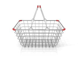 Steel wire shopping basket. Front view