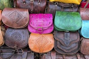 Handmade leather bags on a market in Morocco, Africa