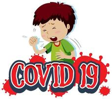 Covid-19 Text Template with Boy Coughing