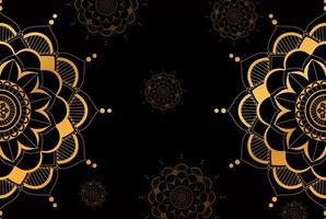 Gold Half Mandala Pattern on Black Background vector