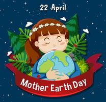 Poster for Mother Earth Day with Girl Hugging Globe