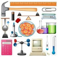Set of Chemistry Equipment and Hand Tools vector