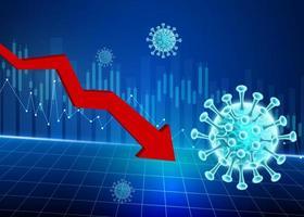Downwards arrow Coronavirus stock price decline design vector