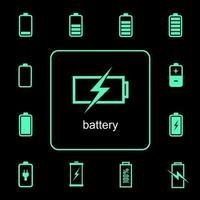 Battery charging and discharging icons set  vector