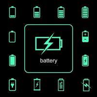 conjunto de iconos de carga y descarga de batería vector