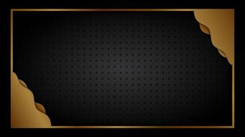 Gold frame and wavy corners over grate texture vector