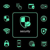 Online security icons set  vector