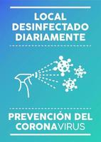 Daily disinfected premise poster in Spanish. vector